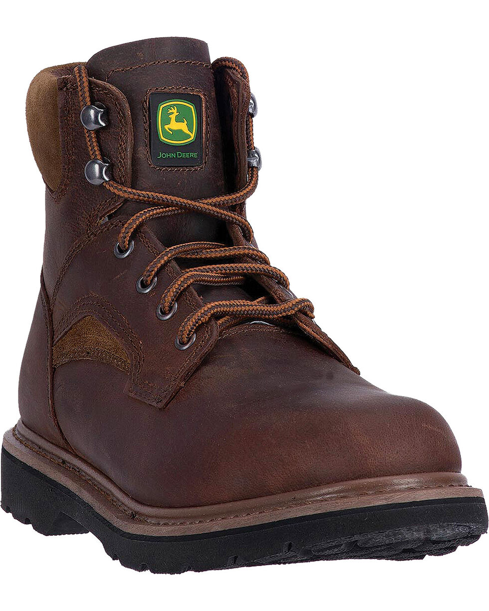 "John Deere Men's Brown 6"" Work Boots - Steel Toe, Brown, hi-res"