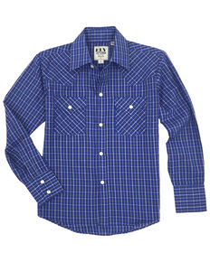 Ely Cattleman Toddler Boys' Blue Check Plaid Long Sleeve Western Shirt , Blue, hi-res