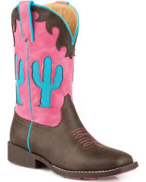 Roper Girls' Pink and Turquoise Cactus Inlay Cowgirl Boots - Square Toe, Brown, hi-res