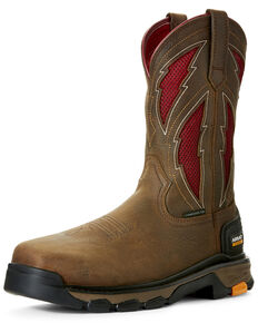 Ariat Men's Intrepid VentTEK Lightning Western Work Boots - Composite Toe, Brown, hi-res