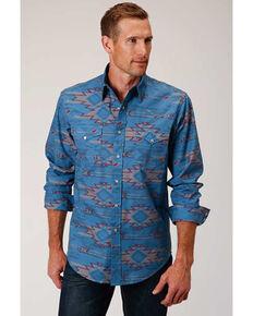 Roper West Made Men's Sandstorm Aztec Print Long Sleeve Western Shirt , Blue, hi-res
