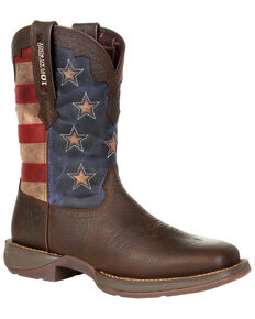 Durango Men's Red, White, & Blue Western Boots - Square Toe, Multi, hi-res