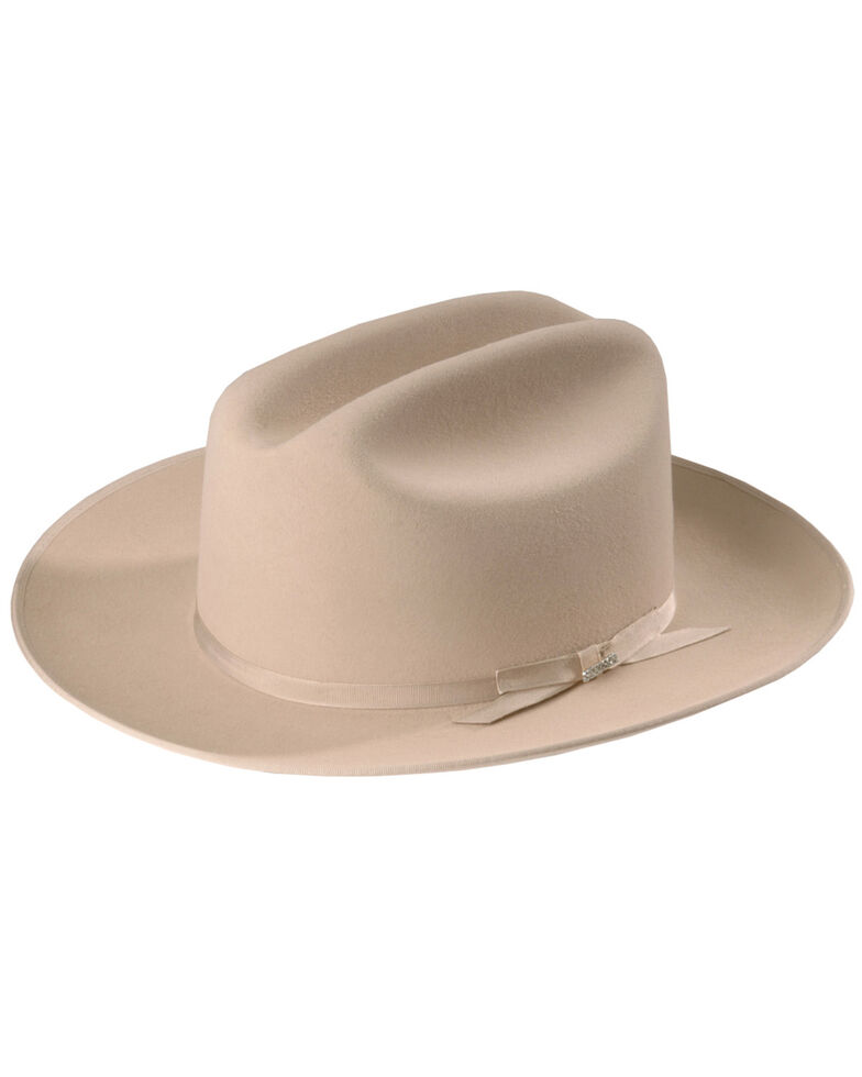 Stetson Men's 6X Open Road Fur Felt Cowboy Hat, Silverbelly, hi-res