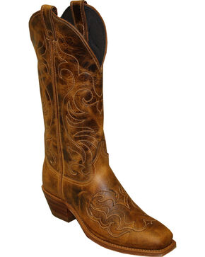 Abilene Women's Cowhide with Fancy Stitching Western Boots - Square Toe, Tan, hi-res