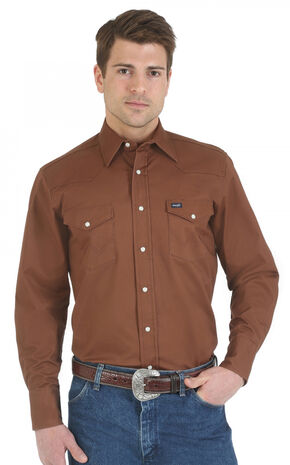Wrangler Advanced Comfort Work Shirt, Brown, hi-res
