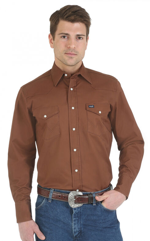 Wrangler Advanced Comfort Work Shirt, Brown, hi-res