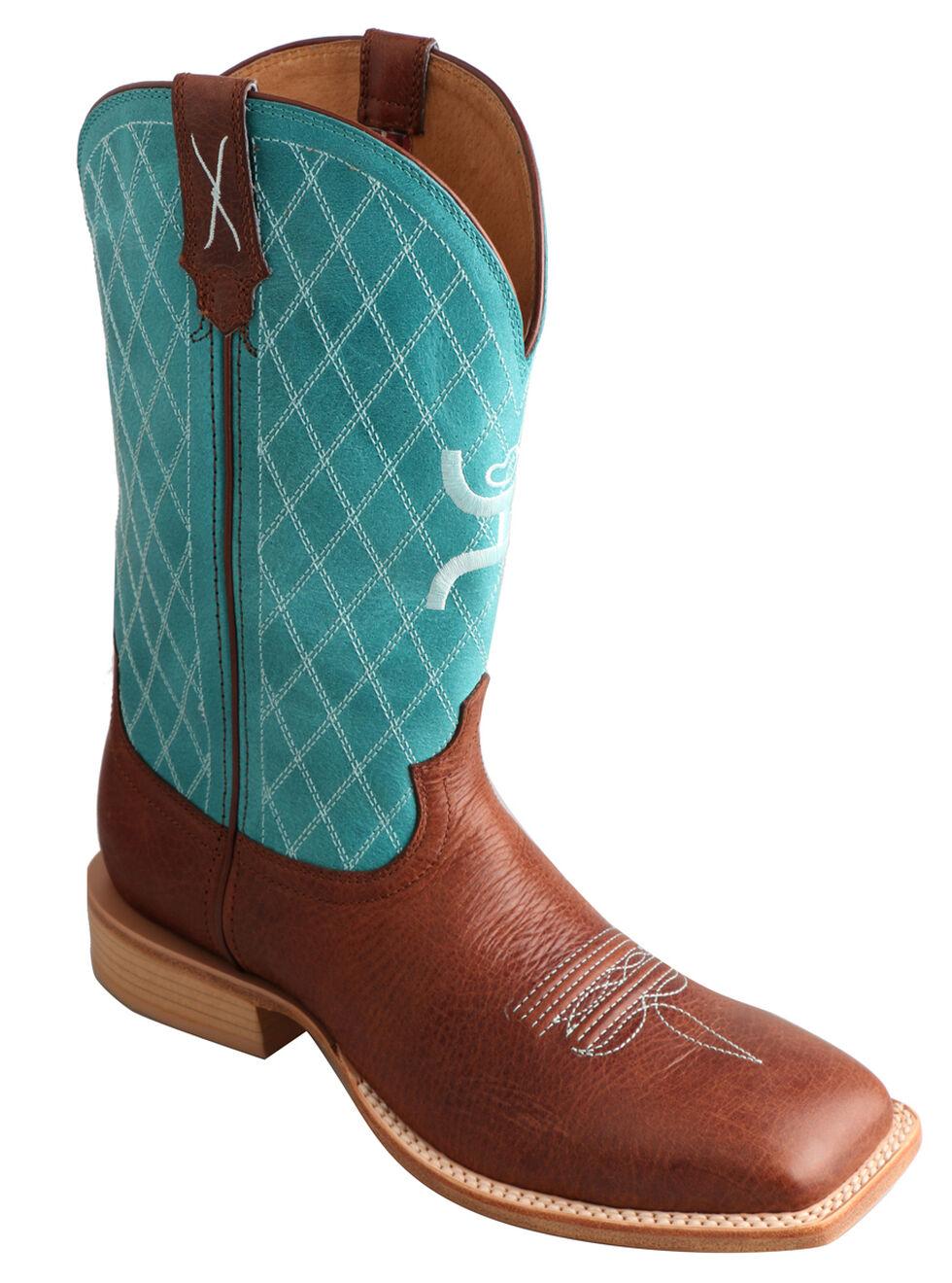 Twisted X Men's Hooey Cowboy Boots - Square Toe, Cognac, hi-res