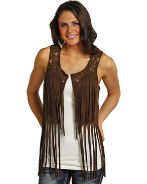 Rock & Roll Cowgirl Women's Chocolate Mineral Wash Fringe Vest , Chocolate, hi-res