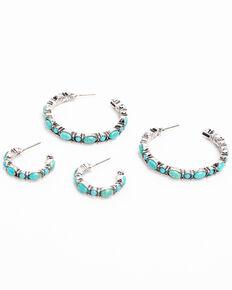 Idyllwind Women's Wheels Turquoise Hoop Earrings Set, Turquoise, hi-res