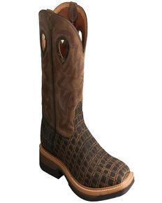 Twisted X Men's Lite Western Work Lite Caiman Print Boots, Brown, hi-res