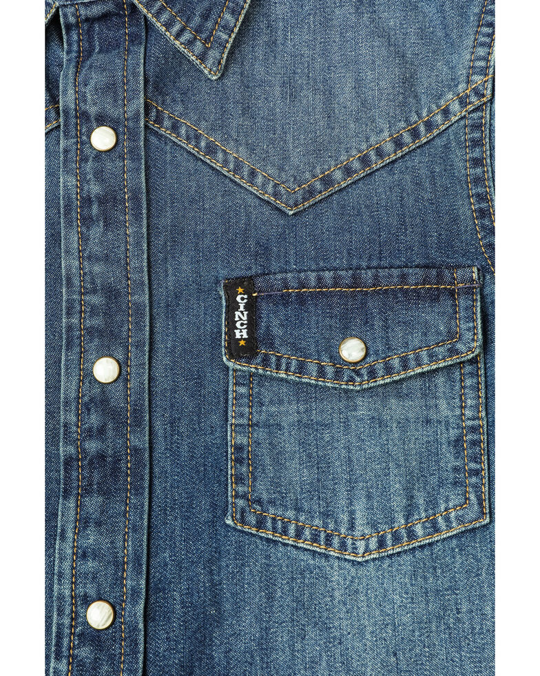 Cinch Boys' Denim Long Sleeve Snap Western Shirt , Indigo, hi-res
