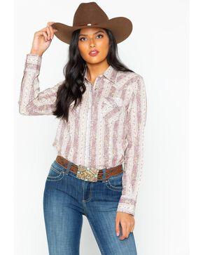 Wrangler Women's Floral Stripe Long Sleeve Western Top, Lavender, hi-res
