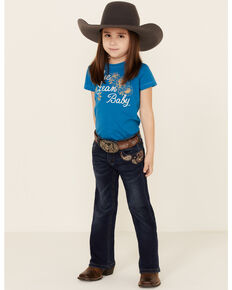 Grace In LA Girls' Dark Paisley Embroidered Pocket Bootcut Jeans , Blue, hi-res