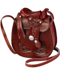 Western Express Women's Small Leather Saddle Bag, Wine, hi-res
