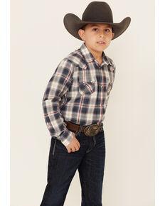 Ariat Boys' Anderson Retro Ombre Plaid Long Sleeve Western Shirt , Burgundy, hi-res