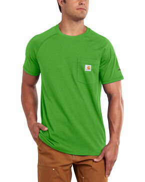 Carhartt Men's Force Cotton Moss Green Short Sleeve Shirt, Moss, hi-res