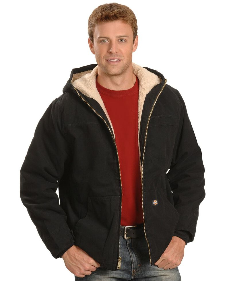 Dickies Sanded Duck Sherpa Lined Jacket - Big & Tall, Black, hi-res