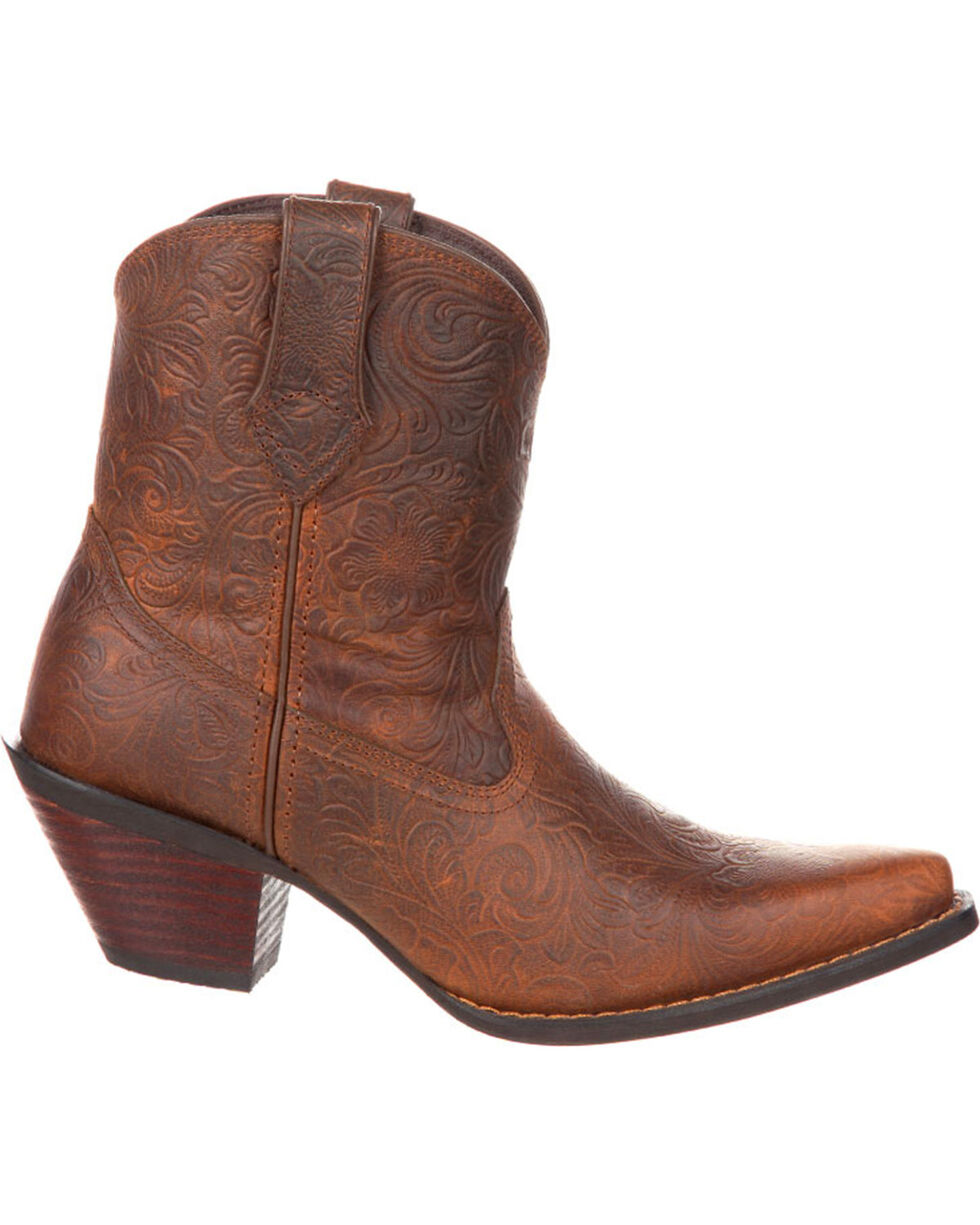 Crush by Durango Women's Brown Western Embossed Booties - Snip Toe , Brown, hi-res