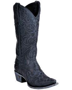 Lane Women's Robin Navy Cowgirl Boots - Snip Toe, Light Blue, hi-res
