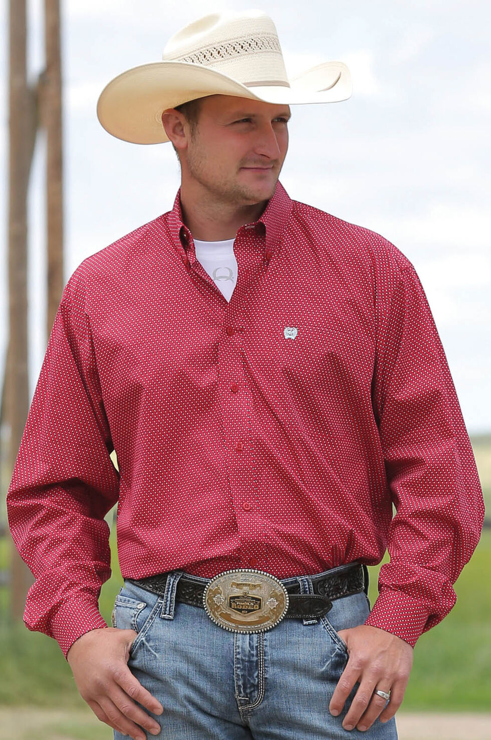 Cinch Men's Red Long Sleeve Small Print Shirt , Red, hi-res