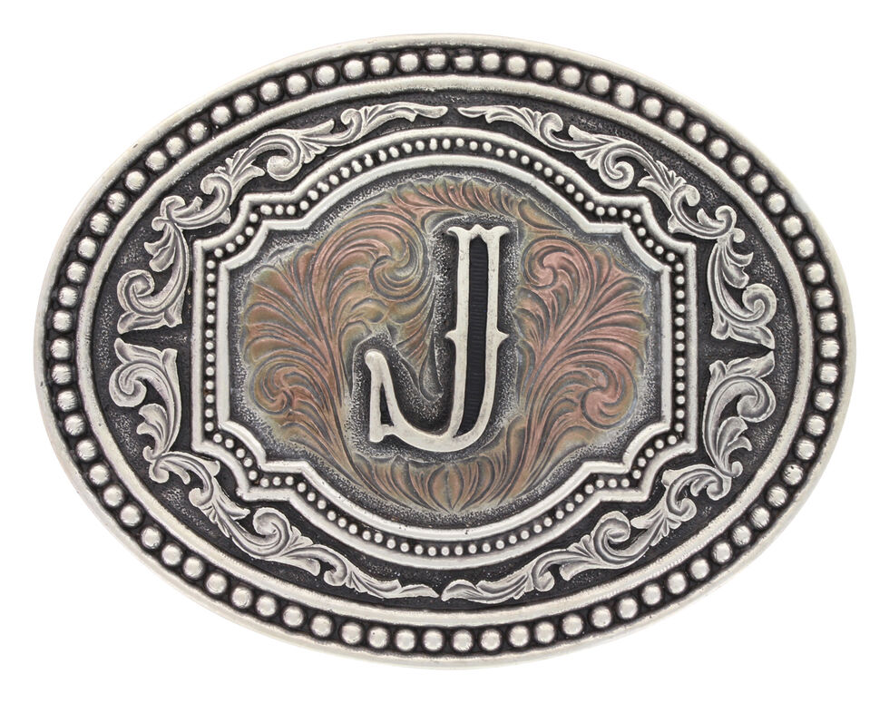 "Montana Silversmiths Men's Initial ""J"" Two-Tone Attitude Belt Buckle, Silver, hi-res"