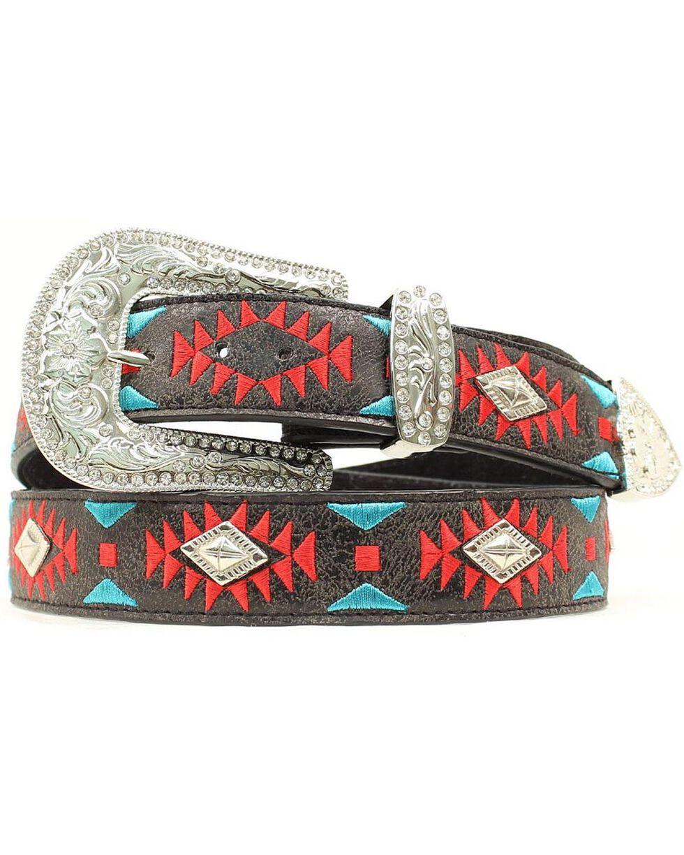 Blazin Roxx Southwest Stitch Diamond Belt, Black, hi-res