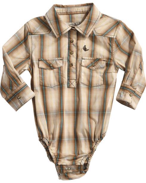 Cody James Infant Boys' Trooper Plaid Woven Onesie, Brown, hi-res