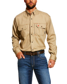 Ariat Men's FR Solid Vent Long Sleeve Work Shirt , Beige/khaki, hi-res