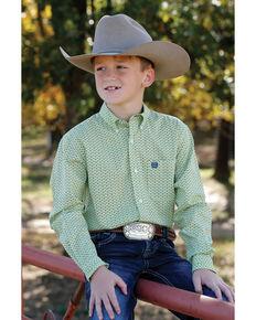Cinch Boys' Lime Green Geo Print Long Sleeve Western Shirt , Light Green, hi-res