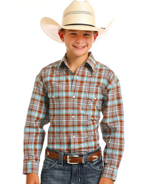 Rough Stock by Panhandle Boys' Bangor Vintage Ombre Plaid Stretch Snap Shirt, Brown, hi-res