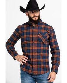 Levis Men's Ferra Plaid Button Long Sleeve Western Flannel Shirt , Orange, hi-res