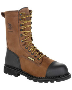 Georgia Boot Men's Drill Dog Work Boot - Steel Toe, Black/brown, hi-res