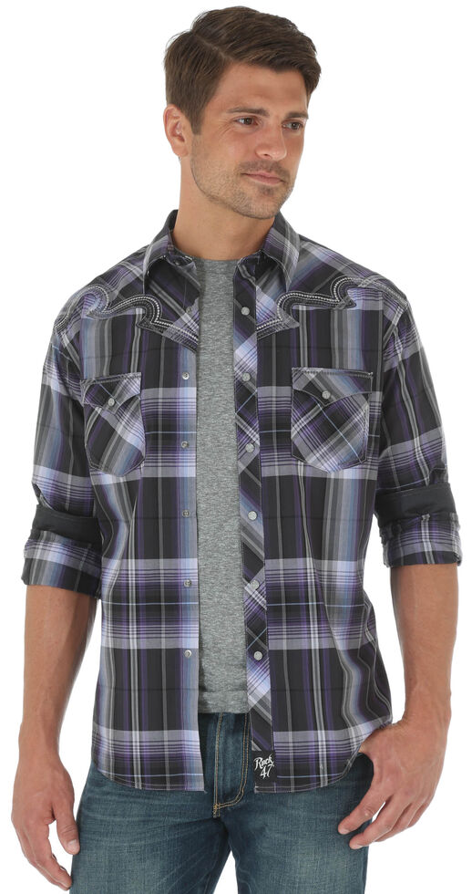 Rock 47 by Wrangler Men's Purple Western Fashion Long Sleeve Plaid Shirt , , hi-res