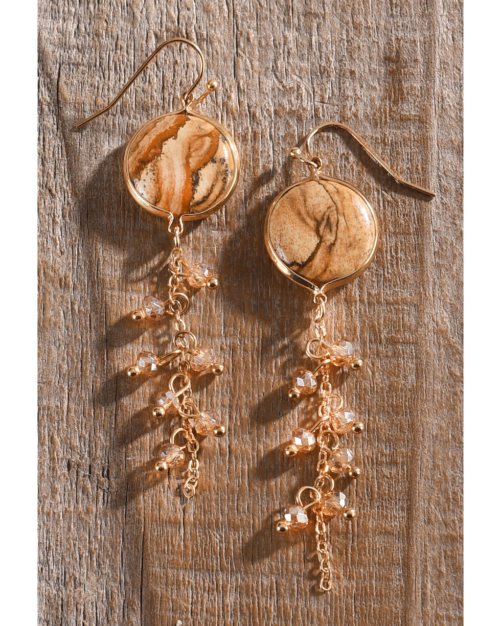 Lost & Found Women's Jasper Chain Earrings , Brown, hi-res