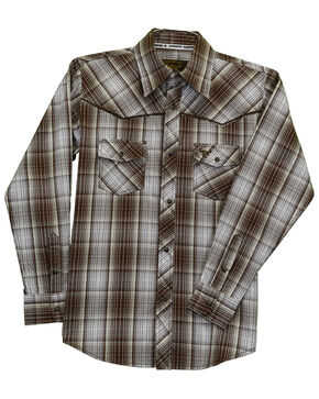 Cowboy Hardware Boys' Fellow Plaid Long Sleeve Western Shirt , Brown, hi-res