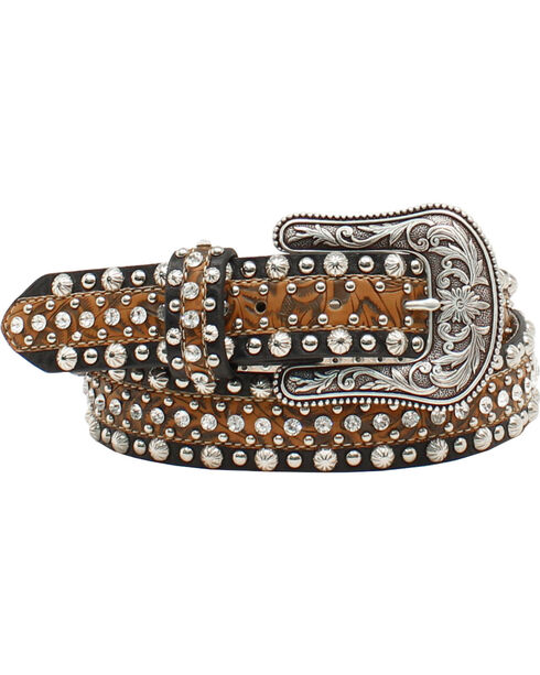 Ariat Women's Circle Concho and Rhinestone Belt, Brown, hi-res