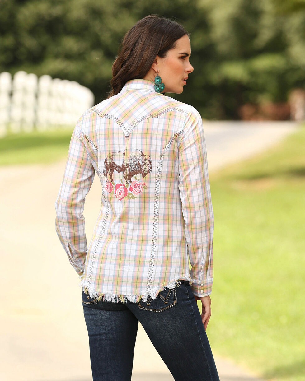 Wrangler Women's Buffalo Rose Plaid Western Top, Pink, hi-res