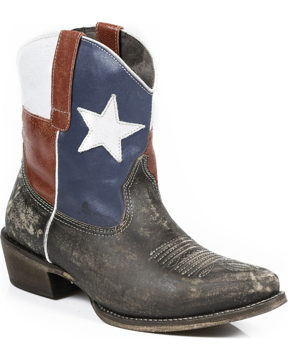 Roper Texas Beauty Cowgirl Boots - Snip Toe , Brown, hi-res