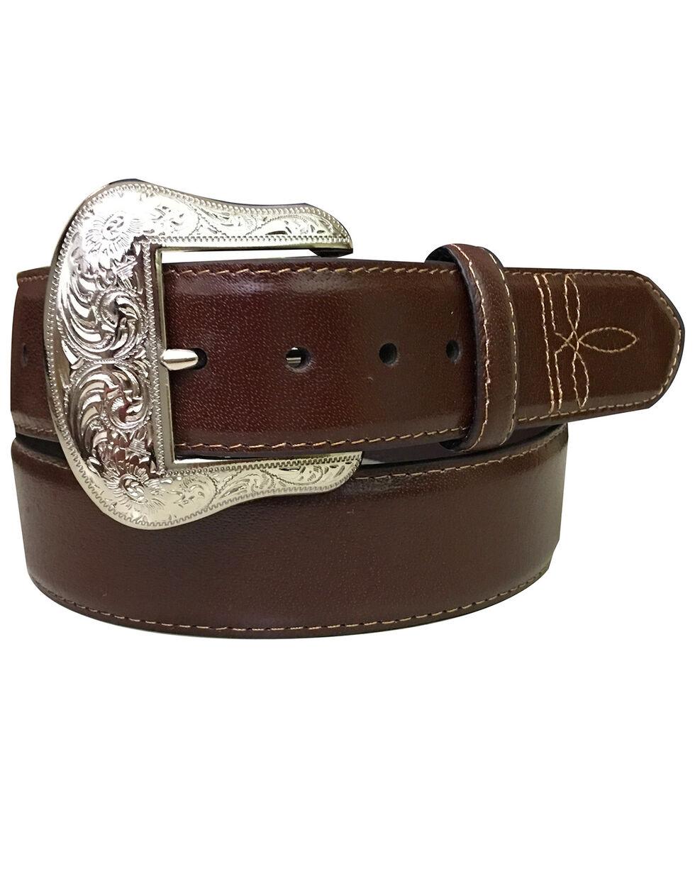Roper Men's Dark Brown Padded Strap Genuine Leather Belt , Dark Brown, hi-res