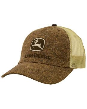 John Deere Men's Tree Bark Logo Trucker Cap, Brown, hi-res