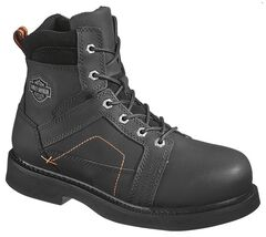 Harley Davidson Men's Pete Lace-Up Boots - Steel Toe, Black, hi-res
