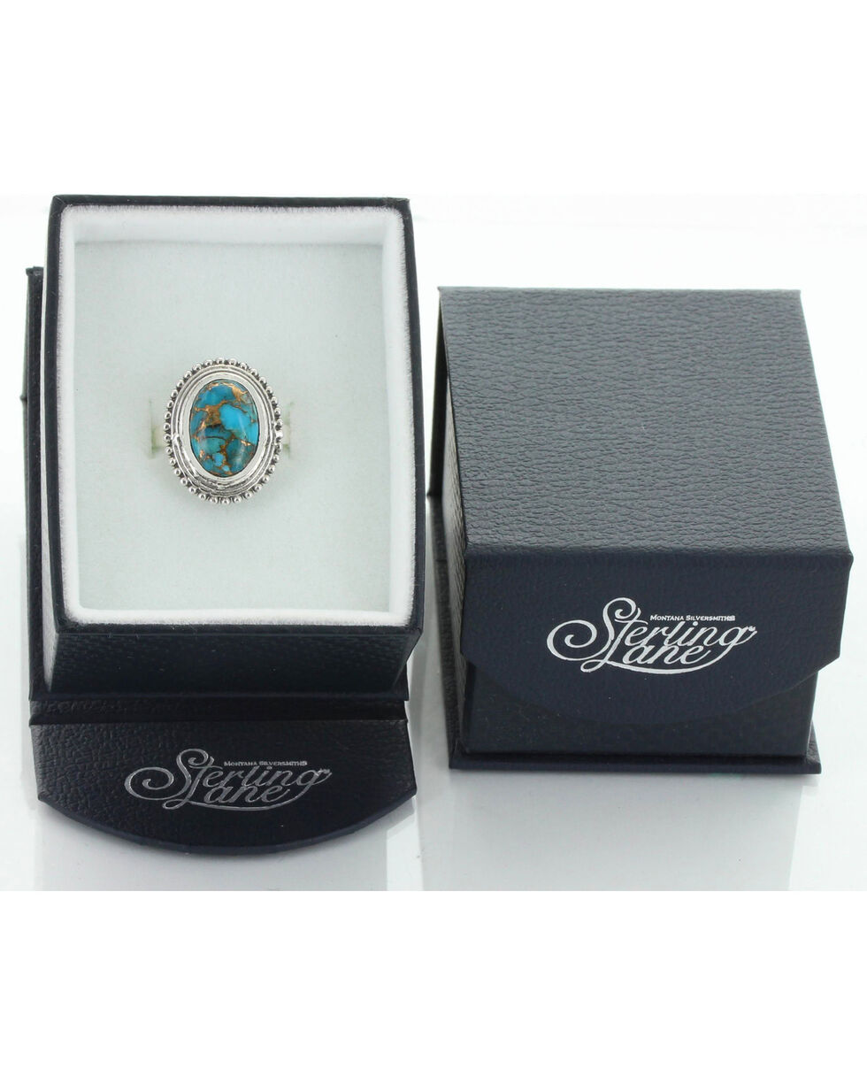 Sterling Lane Women's Copper Turquoise Oval Ring , Silver, hi-res