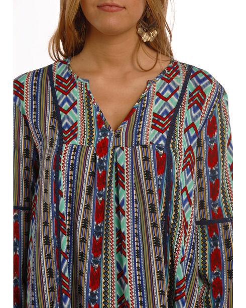Rock & Roll Cowgirl Women's Blue Aztec Print Dress , Royal Blue, hi-res