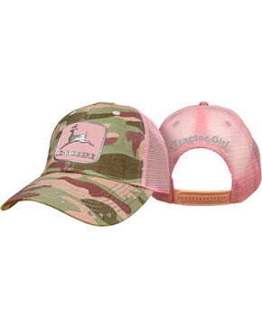 John Deere Women's Patch Camo Trucker Cap, Pink, hi-res
