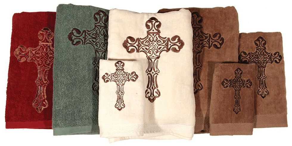 HiEnd Accents Three-Piece Embroidered Cross Bath Towel Set - Red, Red, hi-res
