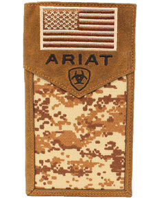 Ariat Men's Rodeo Camo Flag Wallet, Camouflage, hi-res