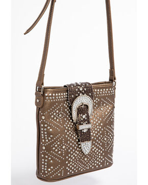 Shyanne Women's Bling Buckle Crossbody Bag, Bronze, hi-res