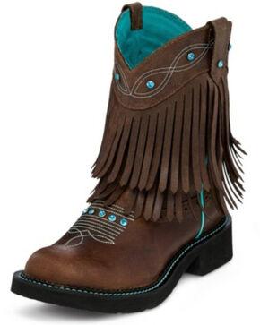 Justin Women's Gemma Cognac Western Boots - Round Toe, Cognac, hi-res
