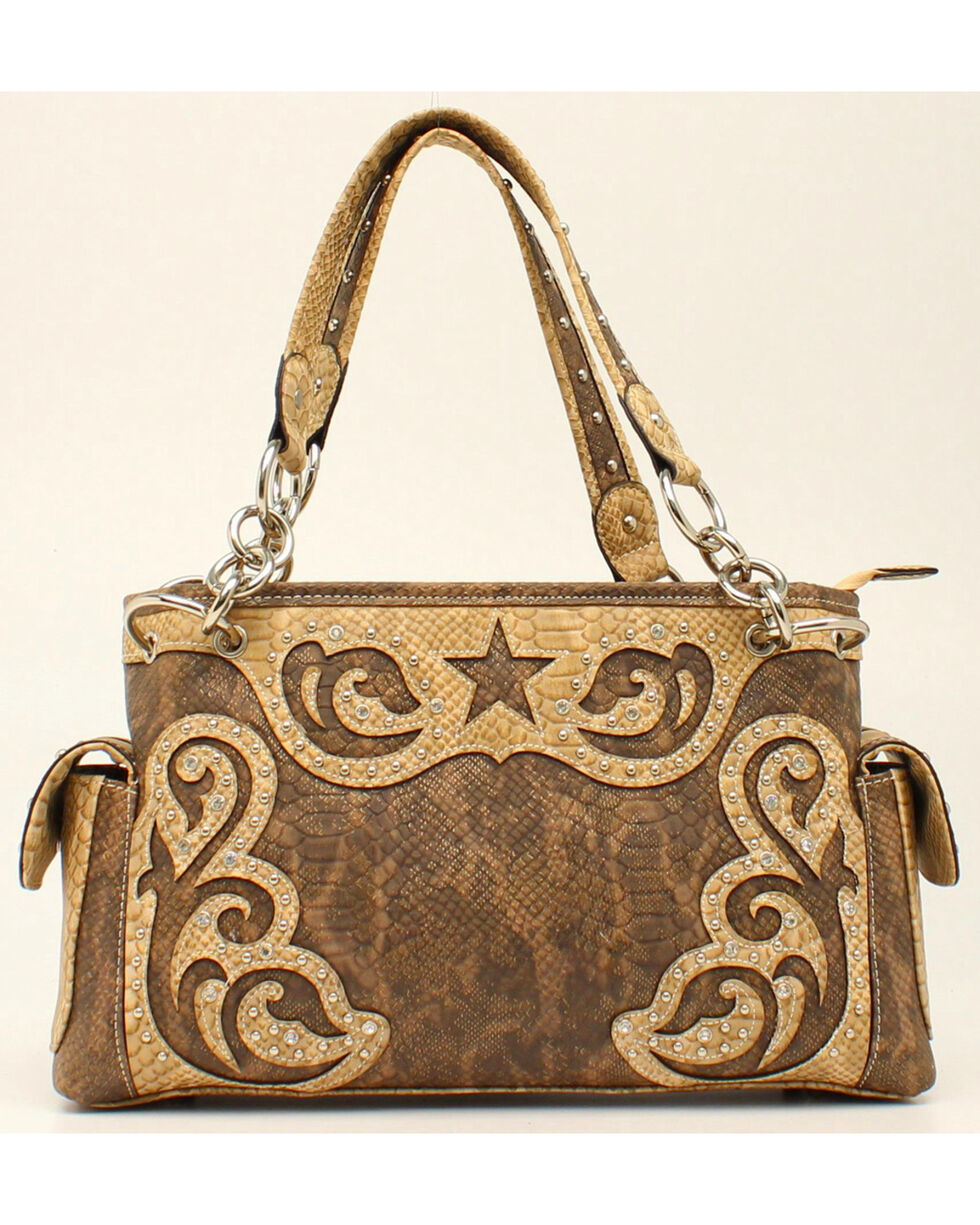 Blazin Roxx Snakeskin Star Large Shoulder Bag, Brown, hi-res