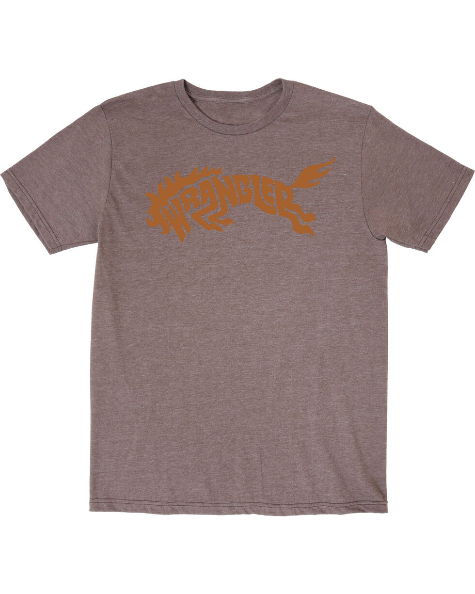Wrangler Men's Western Bronco Short Sleeve T-Shirt, Brown, hi-res